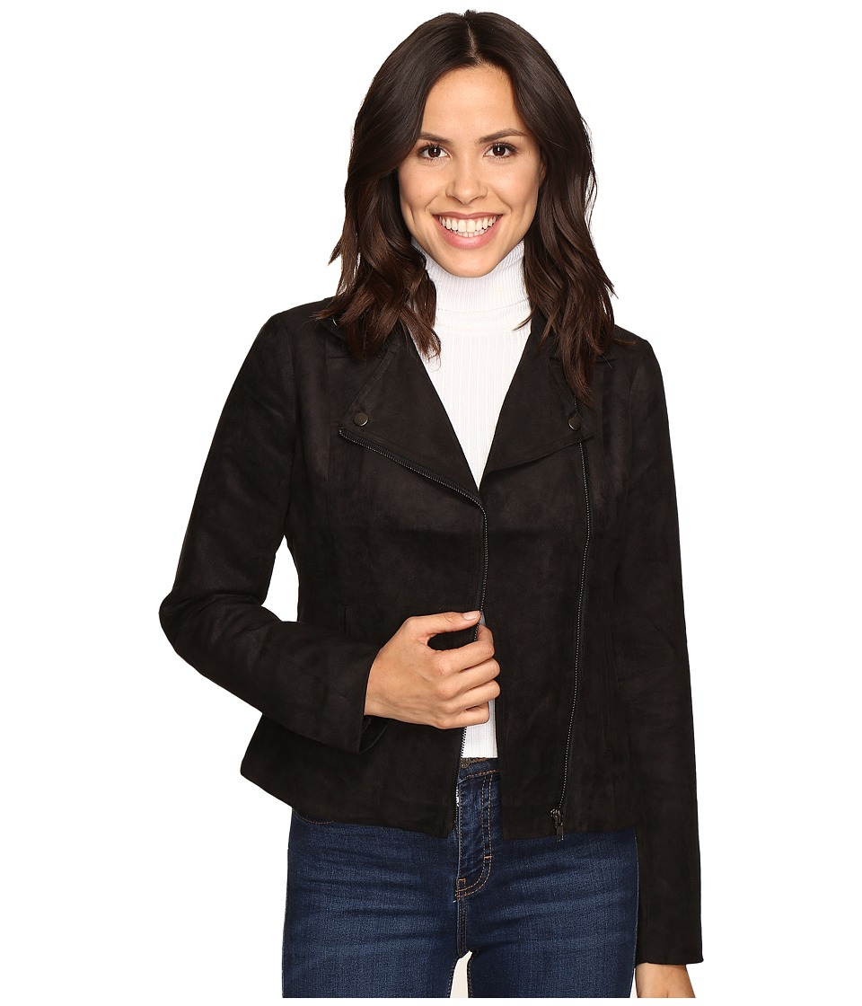 Olive & Oak - Faux Suede Moto Jacket (Black) Women's Coat