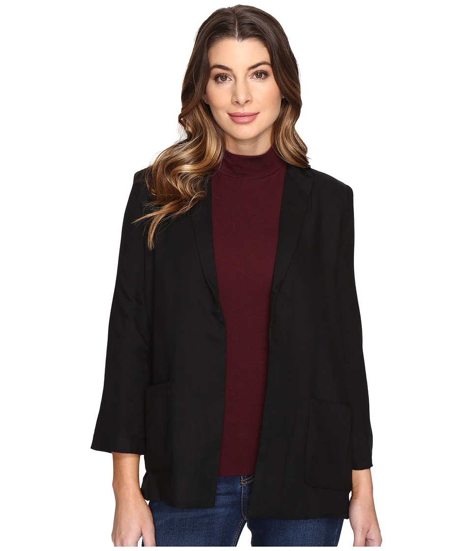 Olive & Oak - Rayon Twill Woven Jacket (Black) Women's Coat