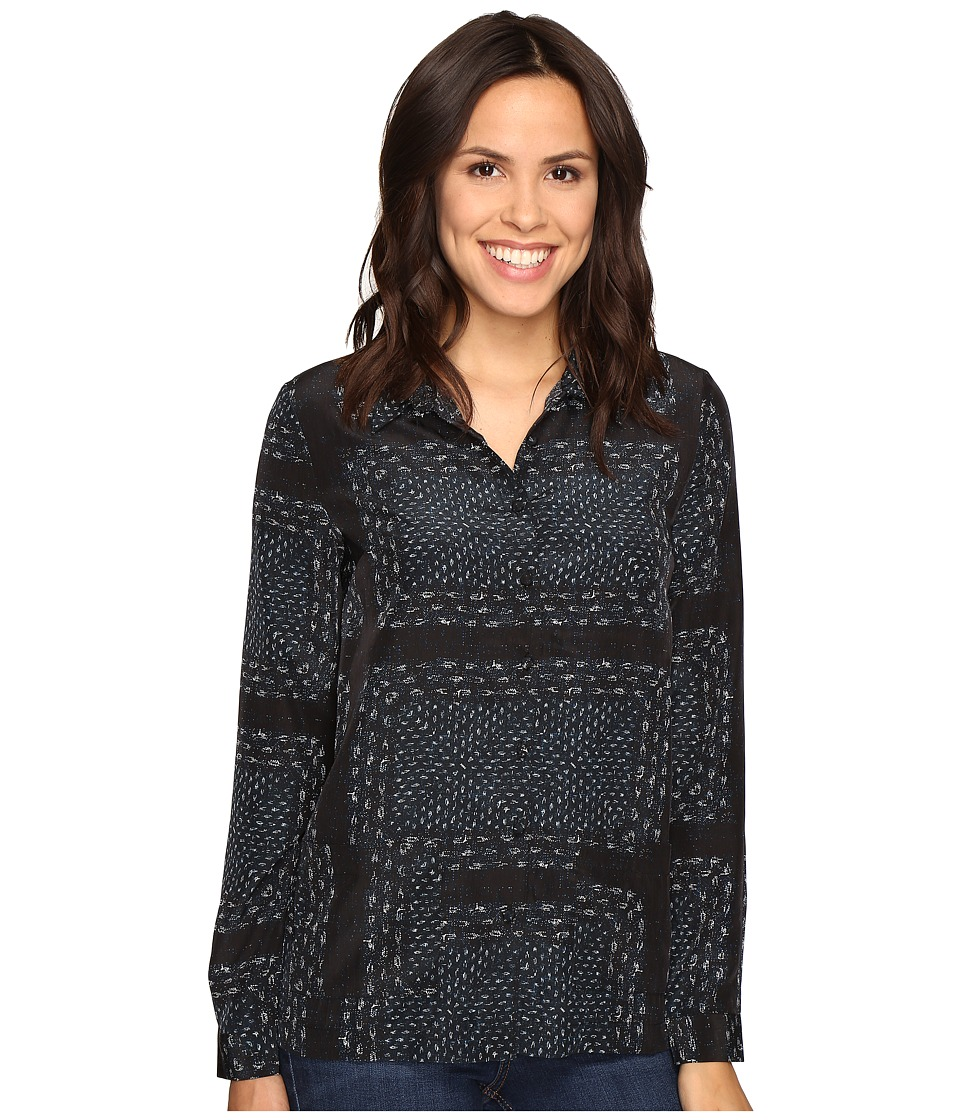 Olive & Oak - Long Sleeve Button Front Bandana Print Pajama Top (Black Combo) Women's Pajama