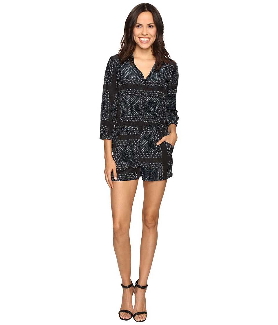 Olive & Oak - Long Sleeve Bandana Print Polo Top Romper (Black Combo) Women's Jumpsuit & Rompers One Piece