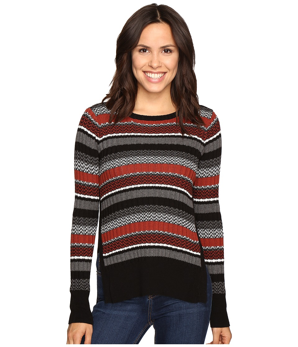 Olive & Oak - Rib Stripe Pullover (Black/Rust) Women's Sweatshirt
