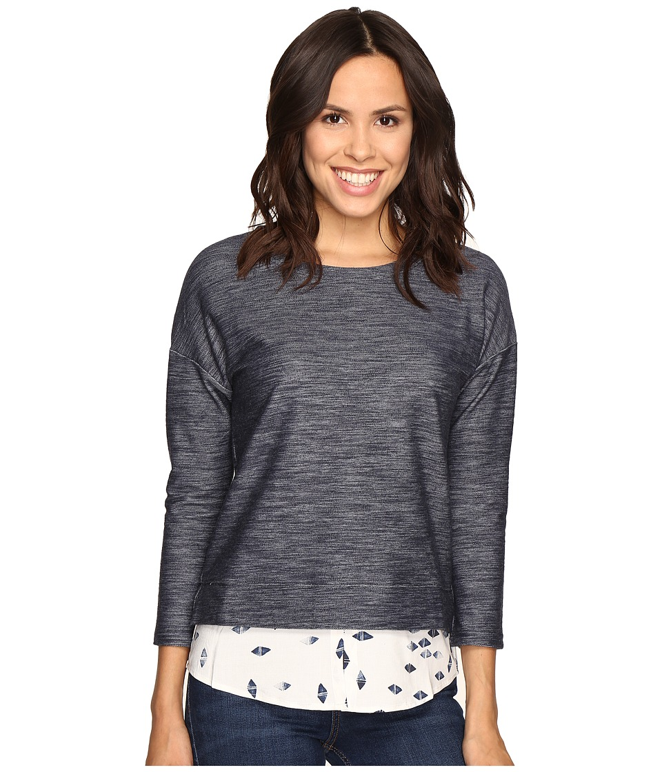 Olive & Oak - Long Sleeve Knit Pullover Print Top (Navy Combo) Women's Long Sleeve Pullover