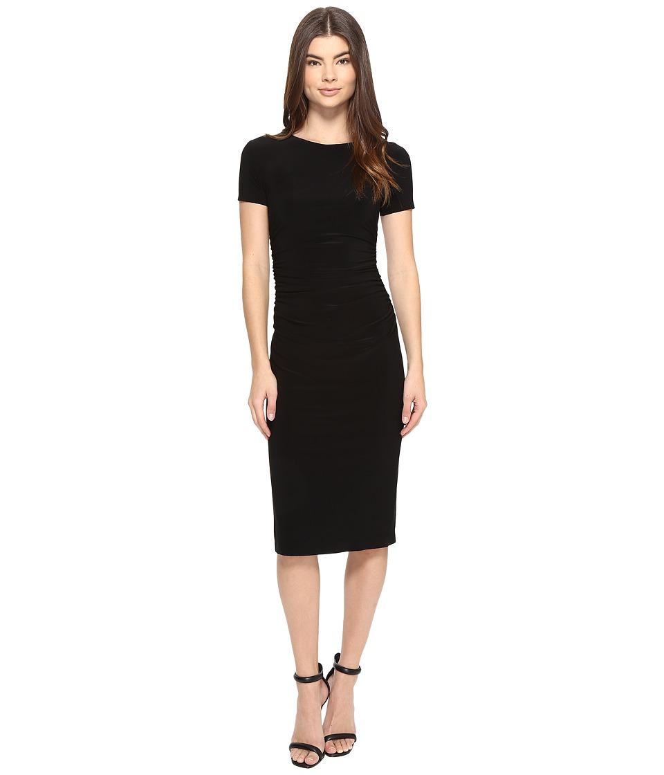 KAMALIKULTURE by Norma Kamali - Short Sleeve Crew Neck Shirred Waist Dress (Black) Women's Dress