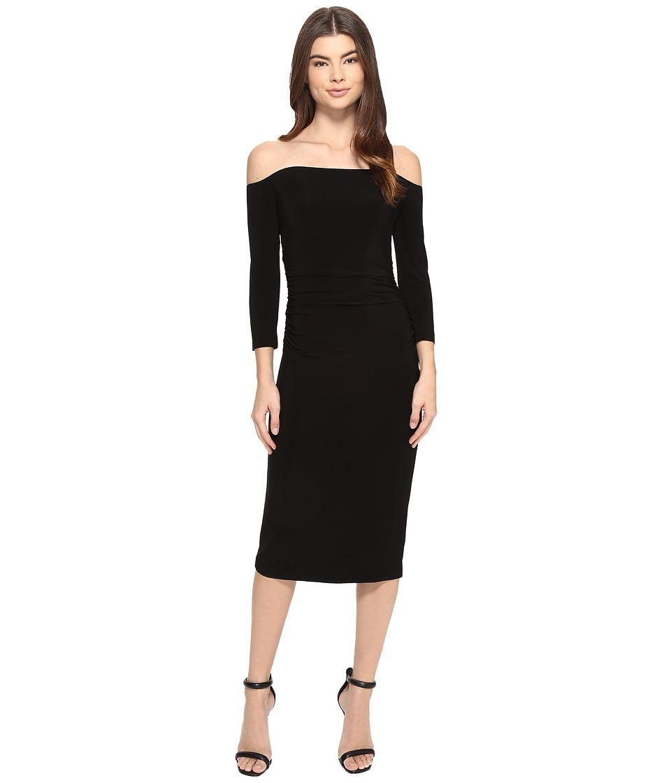 KAMALIKULTURE by Norma Kamali - Off Shoulder Shirred Waist Dress (Black) Women's Dress