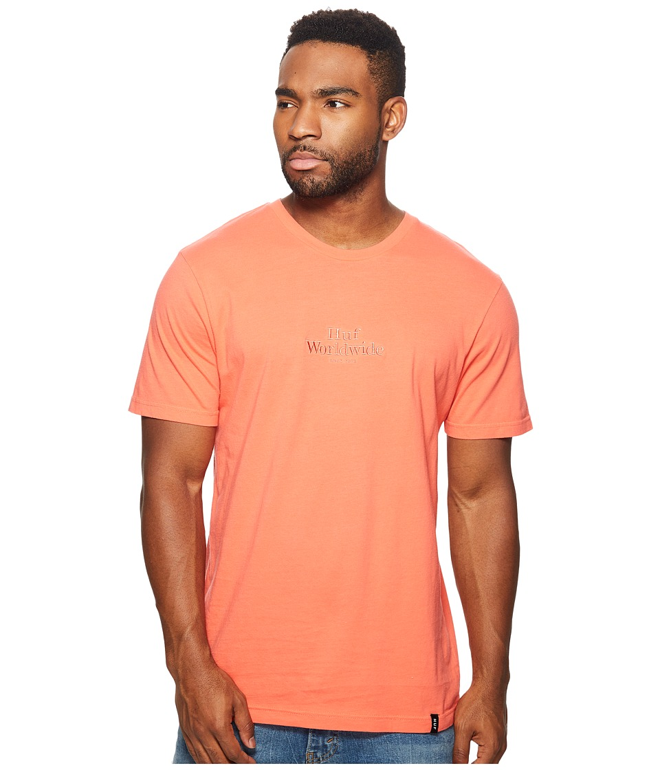 HUF - Worldwide Overdye Tee (Coral) Men's T Shirt