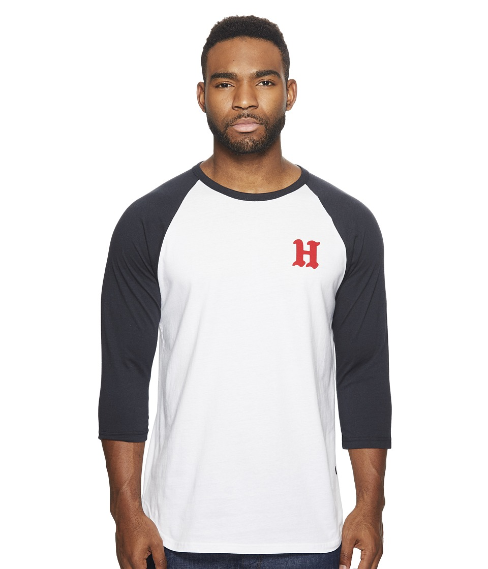 HUF - Rockers Raglan (White/Navy 2) Men's Clothing