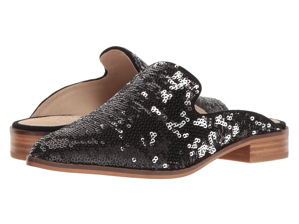 Shellys London - Cantara Mule (Black Sequin) Women's Flat Shoes