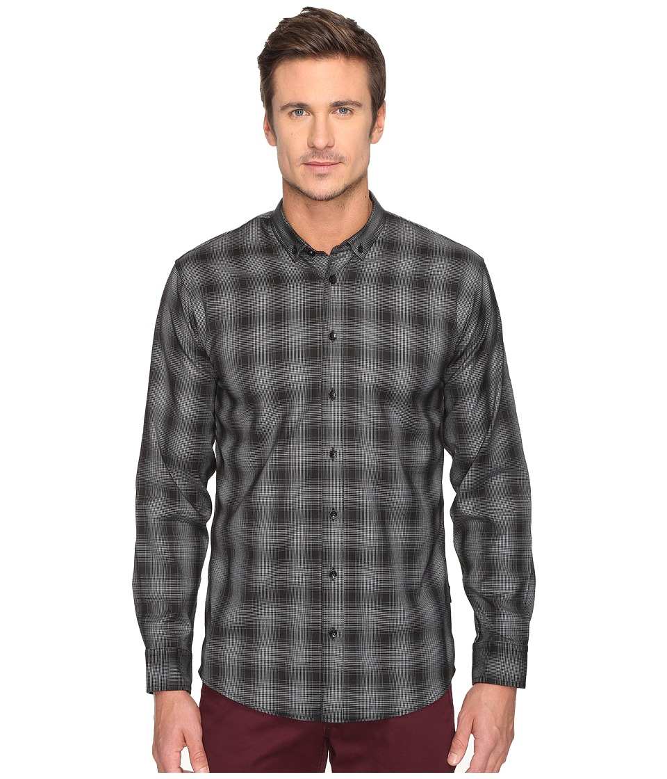 Publish - Kalyb Micro Houndstooth Button Down (Black) Men's Long Sleeve Button Up