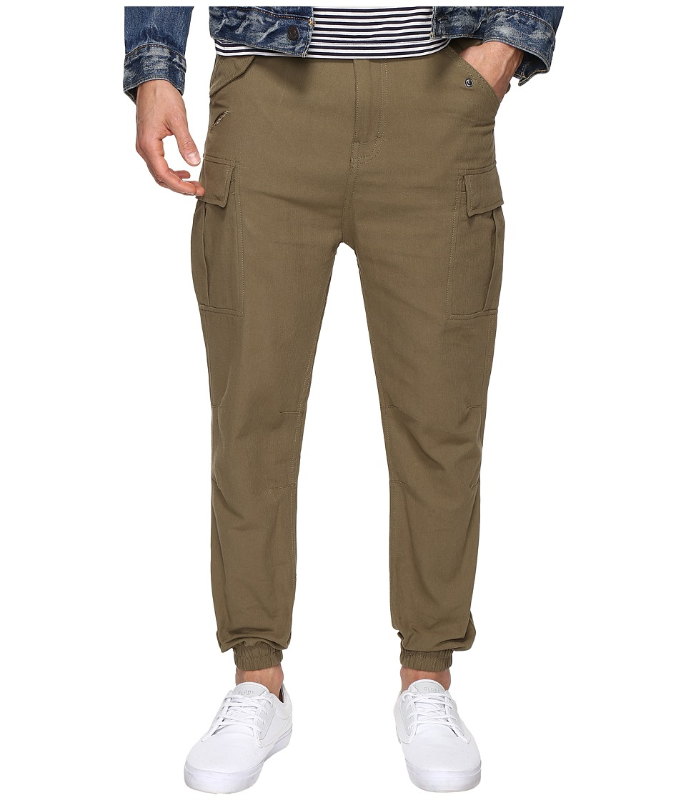 Publish Joah Herringbone Twill Drop Cargo Pants (Olive) Men