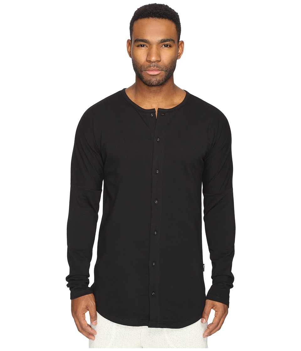 Publish - Aydan - Premium Terry Button Up Drop Shoulder Long Sleeve (Black) Men's Long Sleeve Button Up