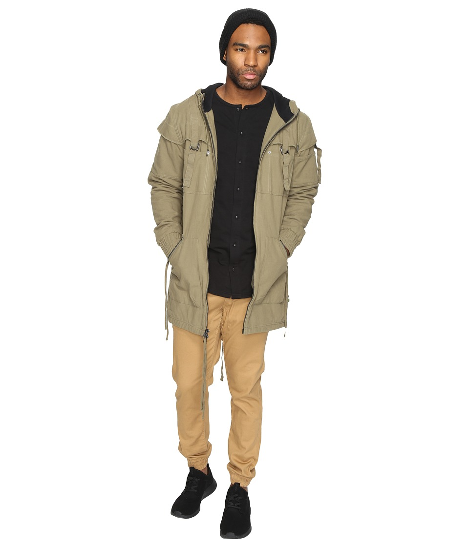Publish - Radik - Herringbone Twill Hooded Trench Coat (Olive) Men's Coat