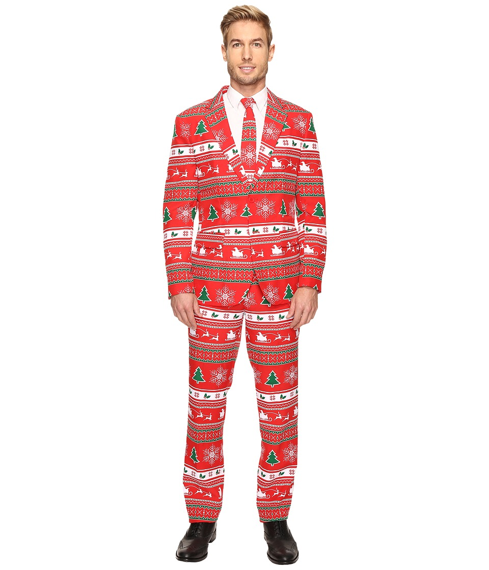 OppoSuits - Winter Wonderland Suit (Dark Red) Men's Suits Sets