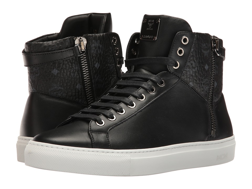 MCM - High Top w/ Dual Stark Zipper (Black) Men's Shoes