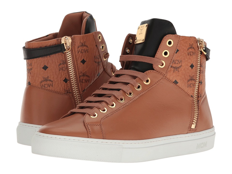 MCM - High Top w/ Dual Stark Zipper (Cognac) Men's Shoes