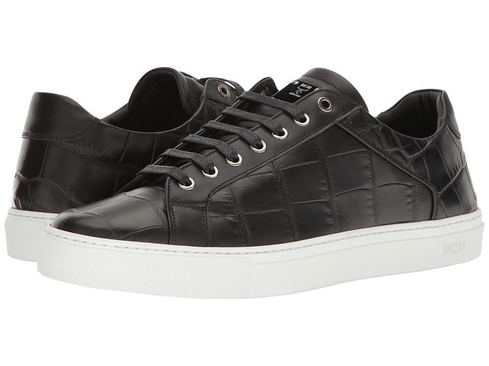 MCM - Stamped Croc Low Top Sneaker (Black) Men's Shoes