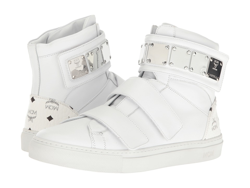 MCM - High Top w/ Brass Plate Detail (White) Men's Shoes