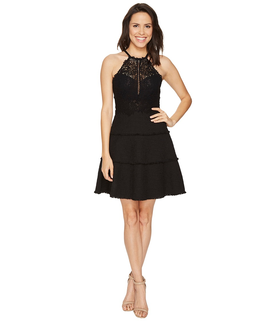 Rebecca Taylor - Sleeveless Tweed Lace Dress (Black) Women's Dress