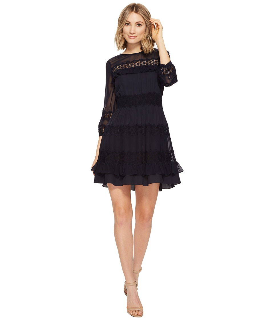 Rebecca Taylor - Long Sleeve Georgette Dress w/ Lace (Dark Navy) Women's Dress
