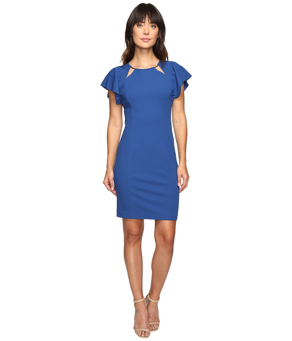 Ivanka Trump - Scuba Crepe Dress with Ruffle Sleeves (Deep Sea) Women's Dress