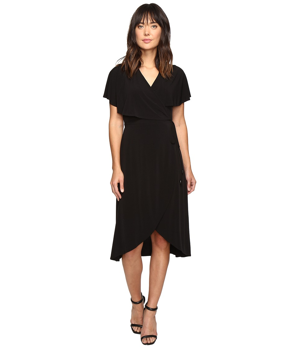 Ivanka Trump - Matte Jersey Faux Wrap Dress with Ruffle Sleeves (Black) Women's Dress