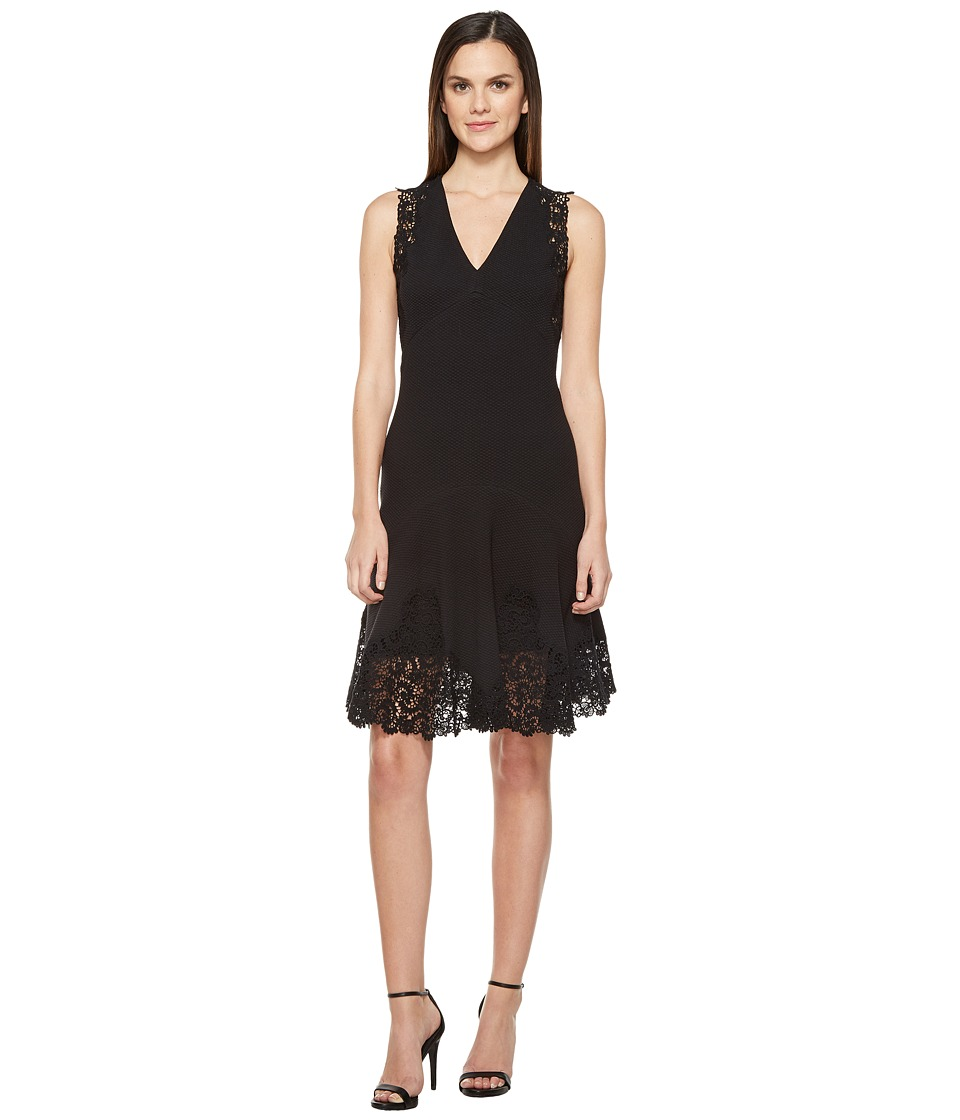 Rebecca Taylor - Sleeveless Text Dress w/ Lace (Black) Women's Dress