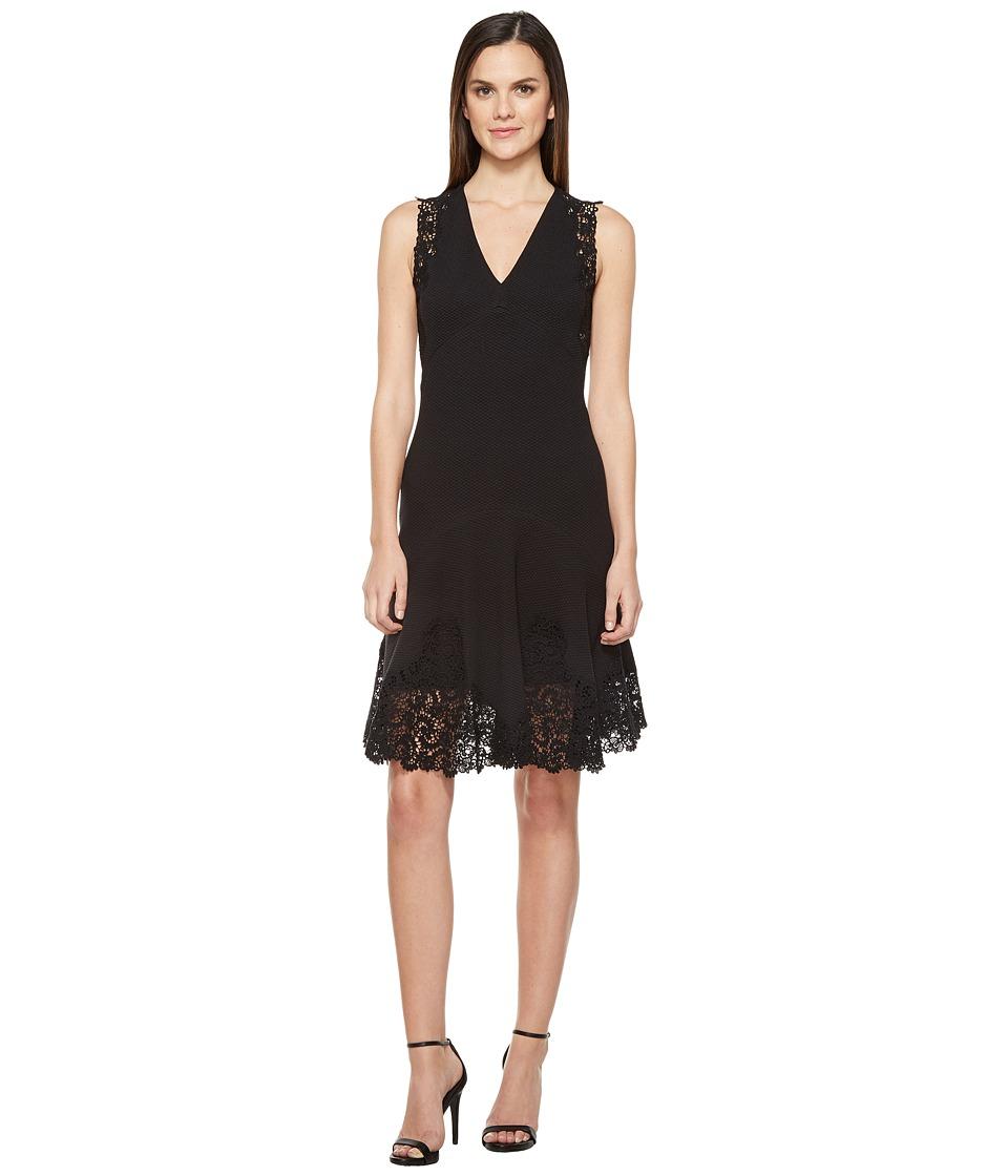Rebecca Taylor Sleeveless Text Dress w/ Lace (Black) Women