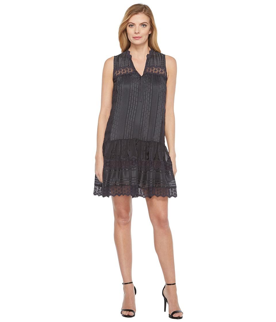 Rebecca Taylor Sleeveless Stripe Silk Dress (Coal) Women