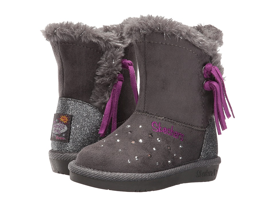 SKECHERS KIDS - Glamslam - Tassle Tootsies 10668N Lights (Toddler/Little Kid) (Charcoal/Purple) Girl's Shoes