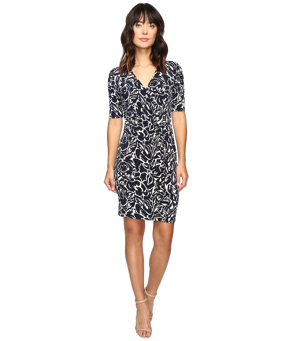 Ivanka Trump - Printed Matte Jersey Dress with Ruffle Front (Navy/Ivory) Women's Dress