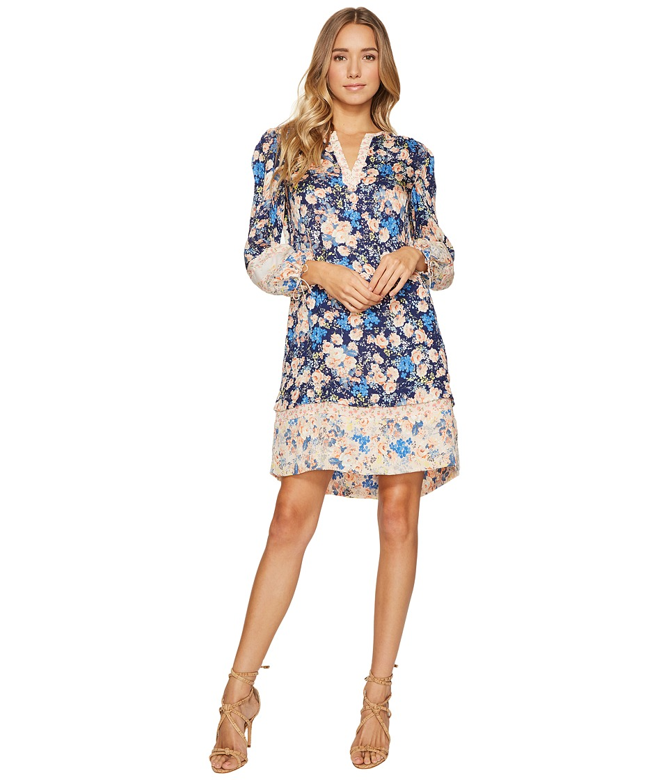 Rebecca Taylor Long Sleeve Gig Floral Dress (Navy Combo) Women