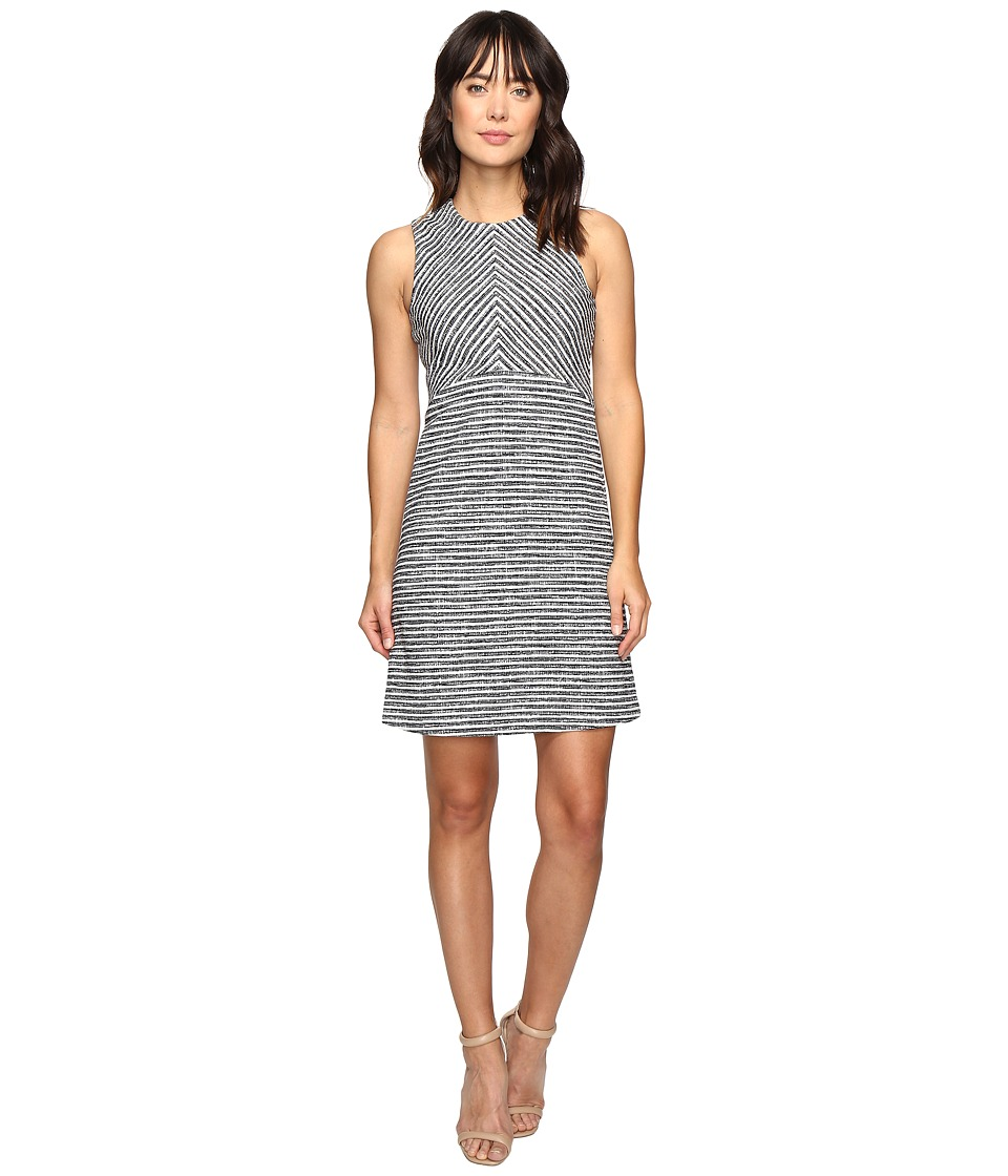 Ivanka Trump - Sleeveless Tweed Fit and Flare Dress (Ivory/Navy) Women's Dress