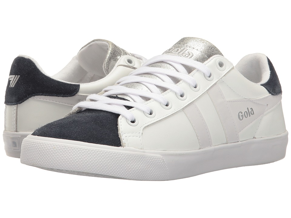 Gola - Harrier Wedge (White/Navy) Women's Lace up casual Shoes