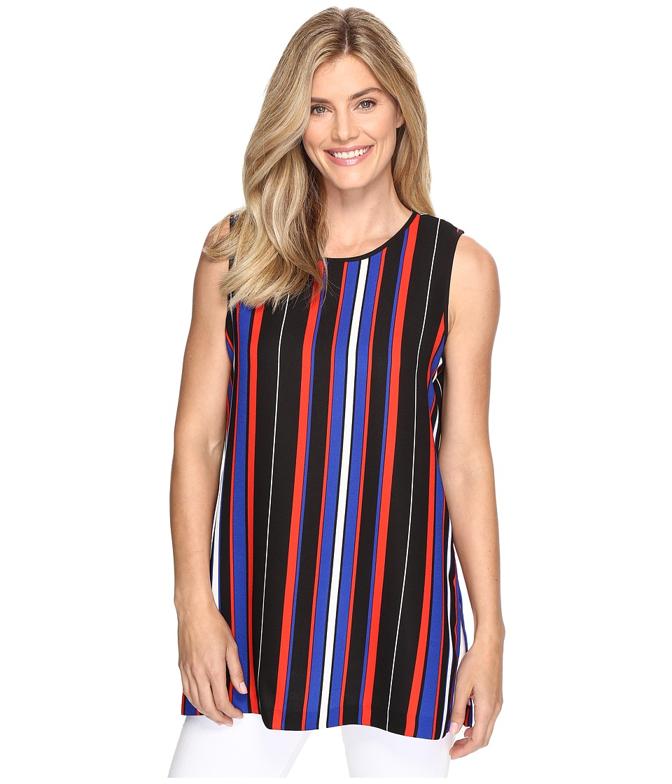 Vince Camuto - Sleeveless Core Multi Stripe Blouse with Slits (Rich Black) Women's Sleeveless