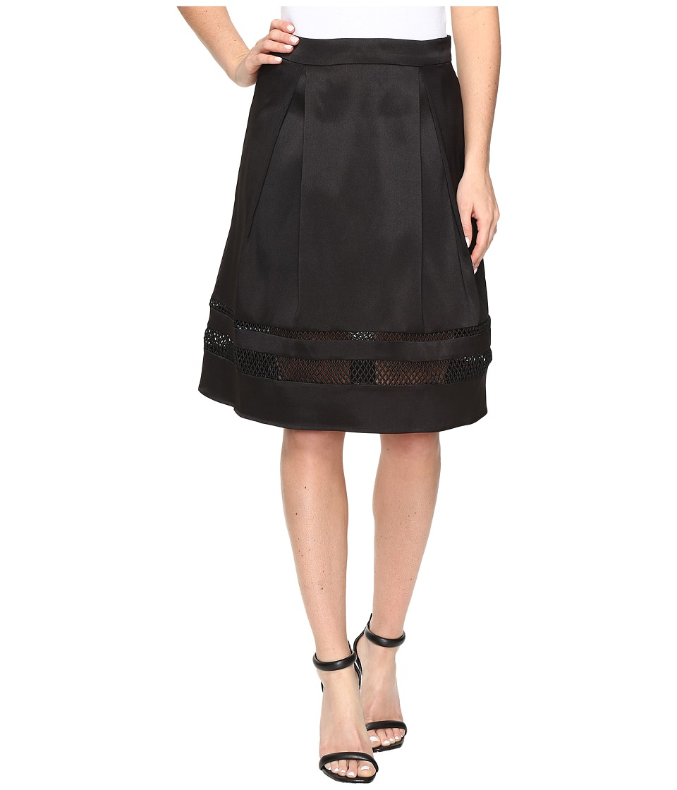 Ivanka Trump - Fit and Flare Skirt with Lazer Cut Out Bottom (Black) Women's Skirt