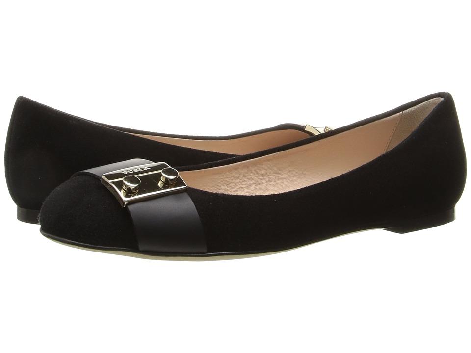 Furla - Metropolis Ballerinas (Onyx Suede) Women's Shoes