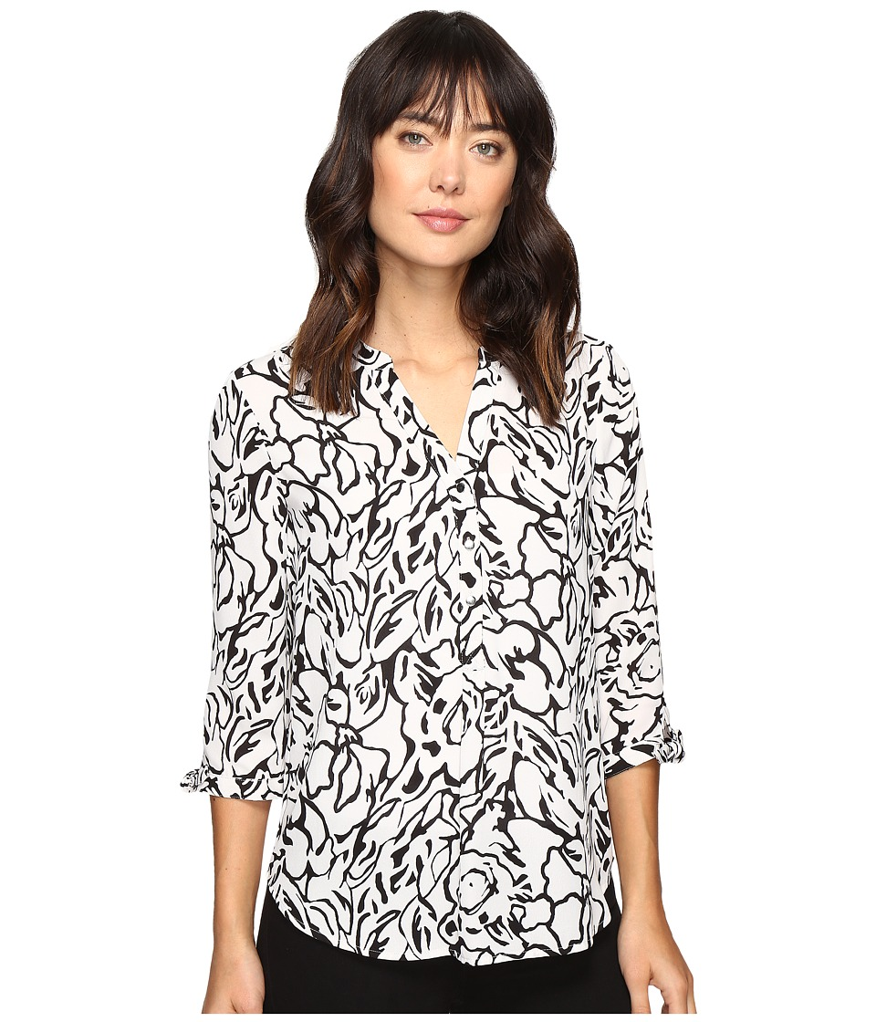 Ivanka Trump - Printed Woven Georgette Floral Top (Grey/Black) Women's Clothing