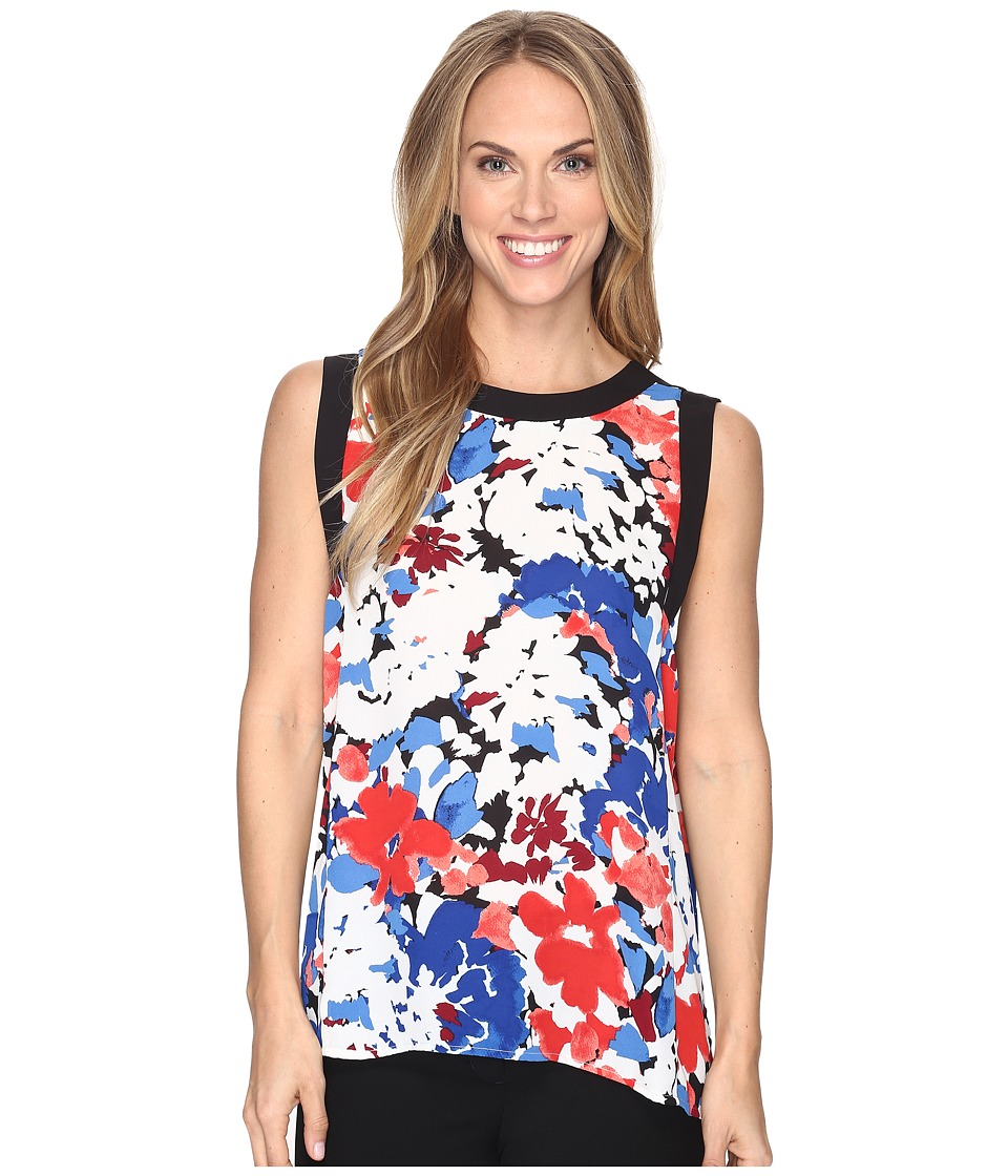 Vince Camuto - Sleeveless Nautical Blooms Blouse with Solid Contrast (Antique White) Women's Clothing