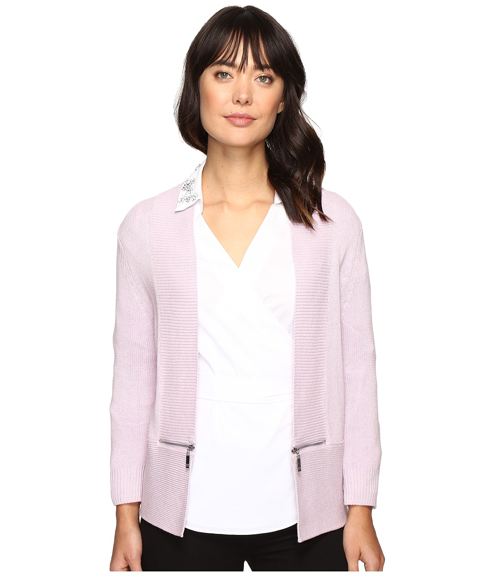 Ivanka Trump - Open Fly-A-Way Zipper Cardigan Sweater (Lilac) Women's Sweater