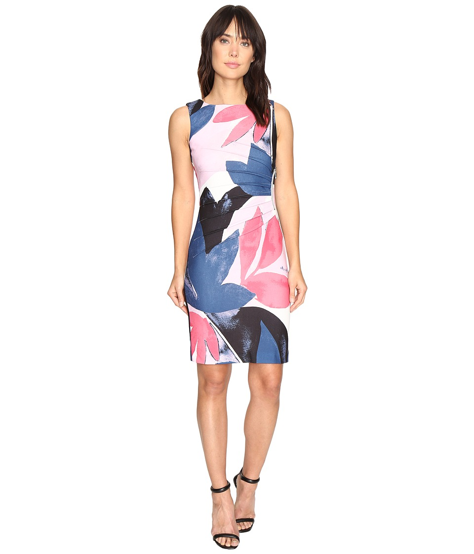Ivanka Trump - Printed Scuba Crepe Oversized Floral Starburst Dress (Tulip/Navy) Women's Dress