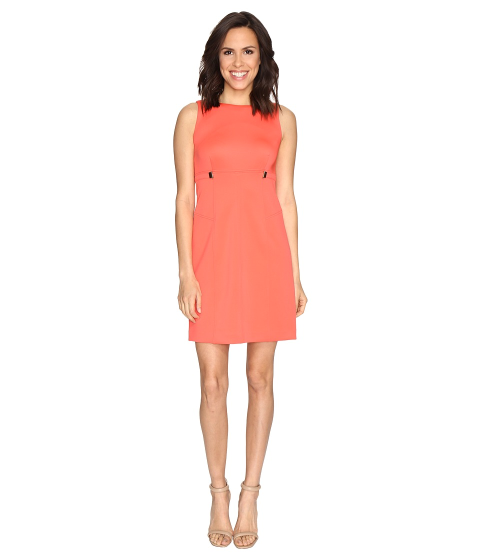 Ivanka Trump - Solid Scuba Fit and Flare Dress with Hardware Grommets (Coral) Women's Dress
