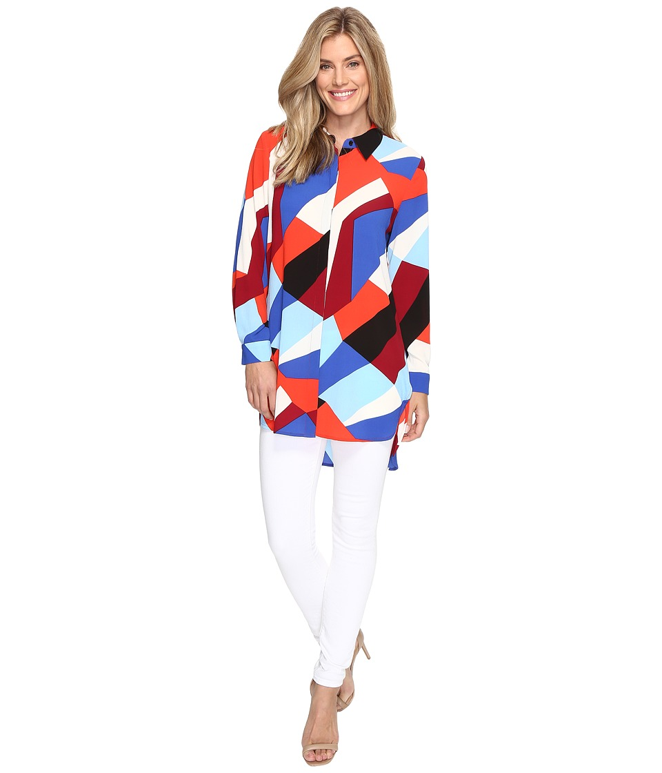 Vince Camuto - Long Sleeve Marina Blocks Button Down Tunic (Dynamic Red) Women's Clothing