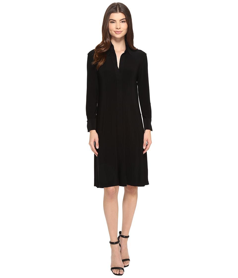 KAMALIKULTURE by Norma Kamali - NK Shirt Swing Dress To Knee (Black) Women's Dress