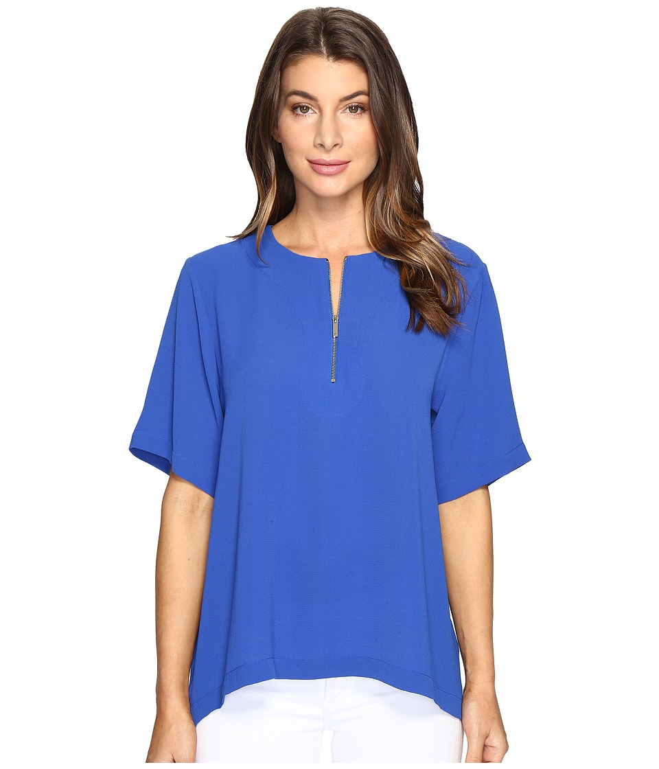 Vince Camuto - Short Sleeve Drop Shoulder Mix Media Top with Front Zip (Core Blue) Women's Clothing