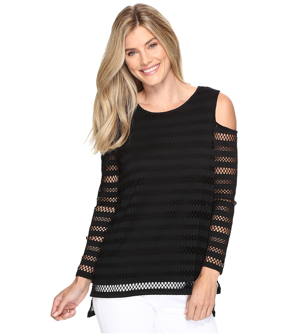 Vince Camuto - Long Sleeve Mesh Stripe Cold-Shoulder Top (Rich Black) Women's Clothing