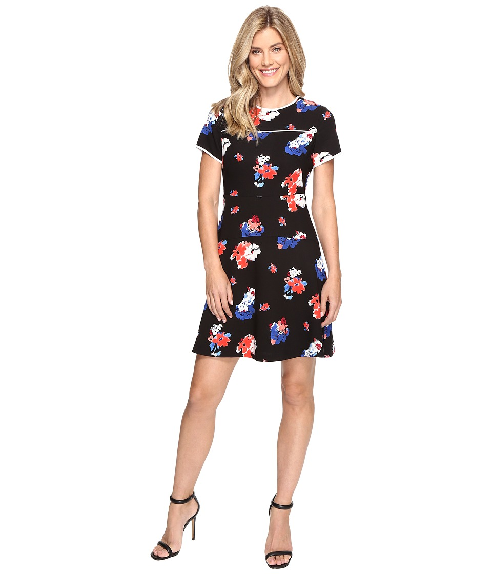 Vince Camuto Short Sleeve Travelling Blooms Flare Dress (Rich Black) Women