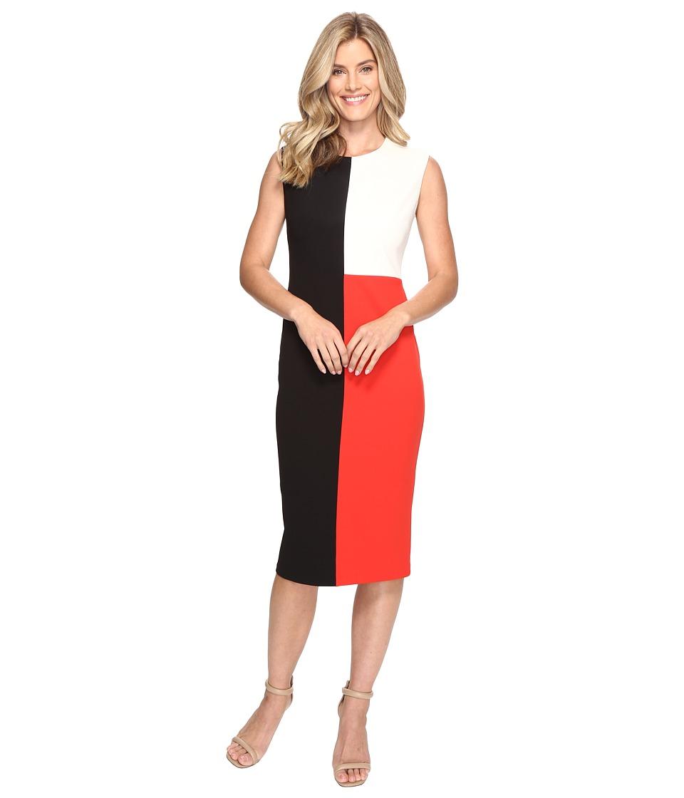 Vince Camuto Extend Shoulder Color Blocked Midi Dress (Rich Black) Women