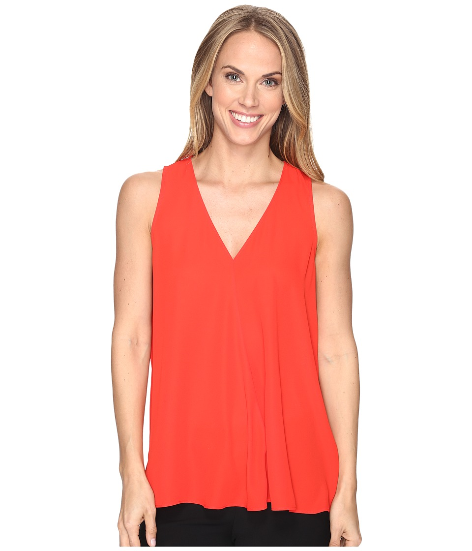 Vince Camuto - Sleeveless V-Neck Drape Front Blouse (Dynamic Red) Women's Blouse