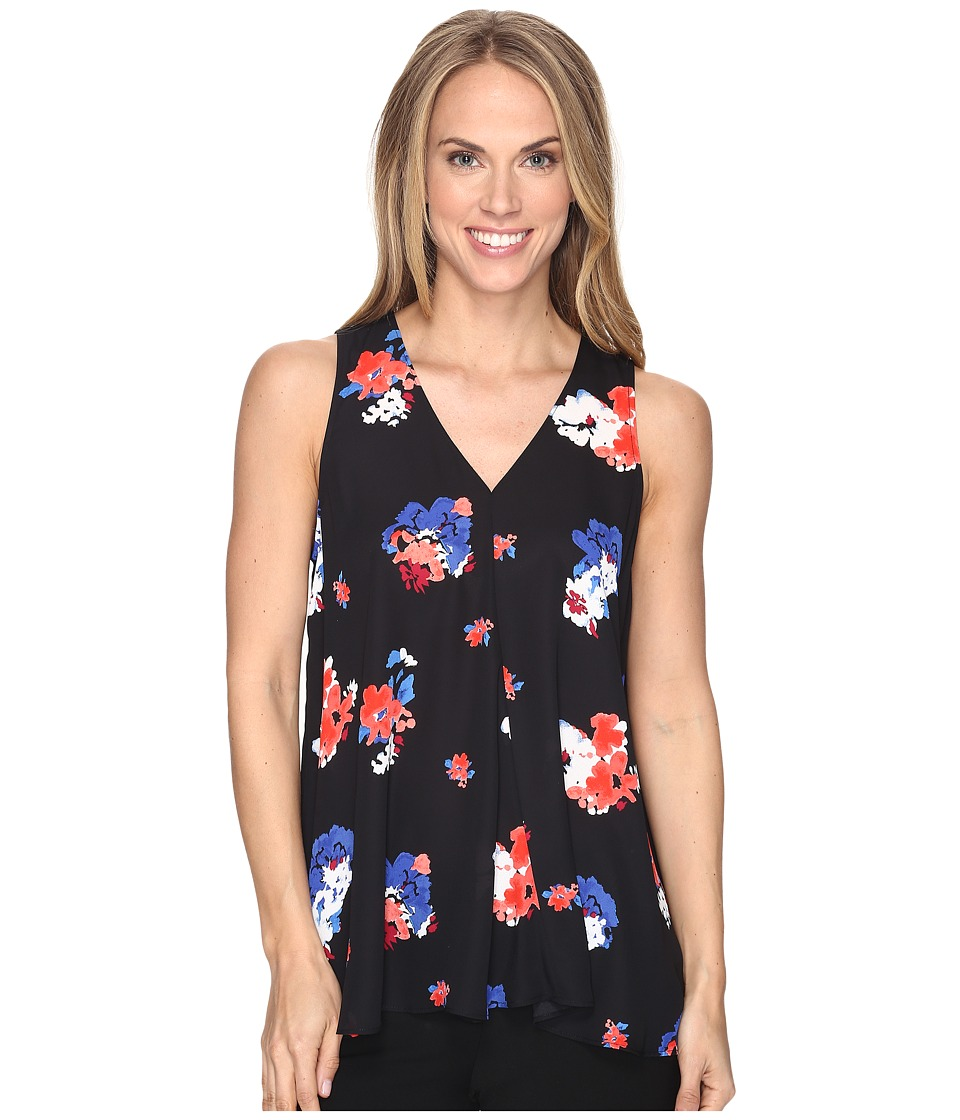 Vince Camuto Sleeveless V-Neck Travel Blooms Drape Front Blouse (Rich Black) Women