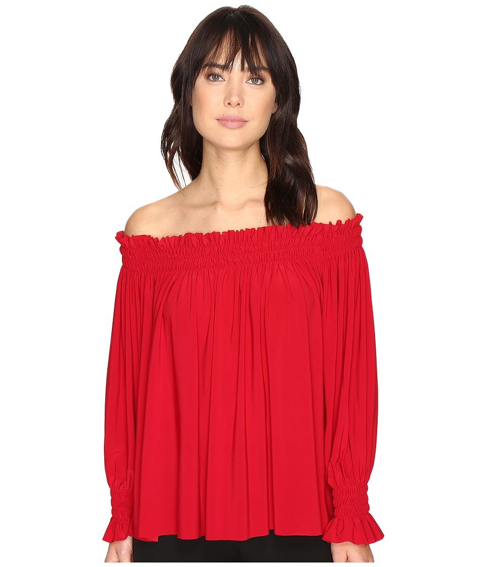 KAMALIKULTURE by Norma Kamali - Peasant Top (Red) Women's Clothing