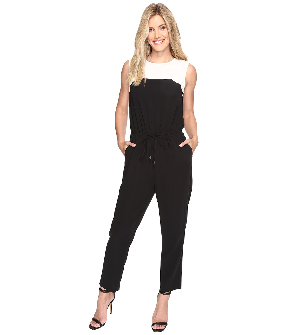 Vince Camuto - Sleeveless Color Blocked Drawstring Jumpsuit (Rich Black) Women's Jumpsuit & Rompers One Piece